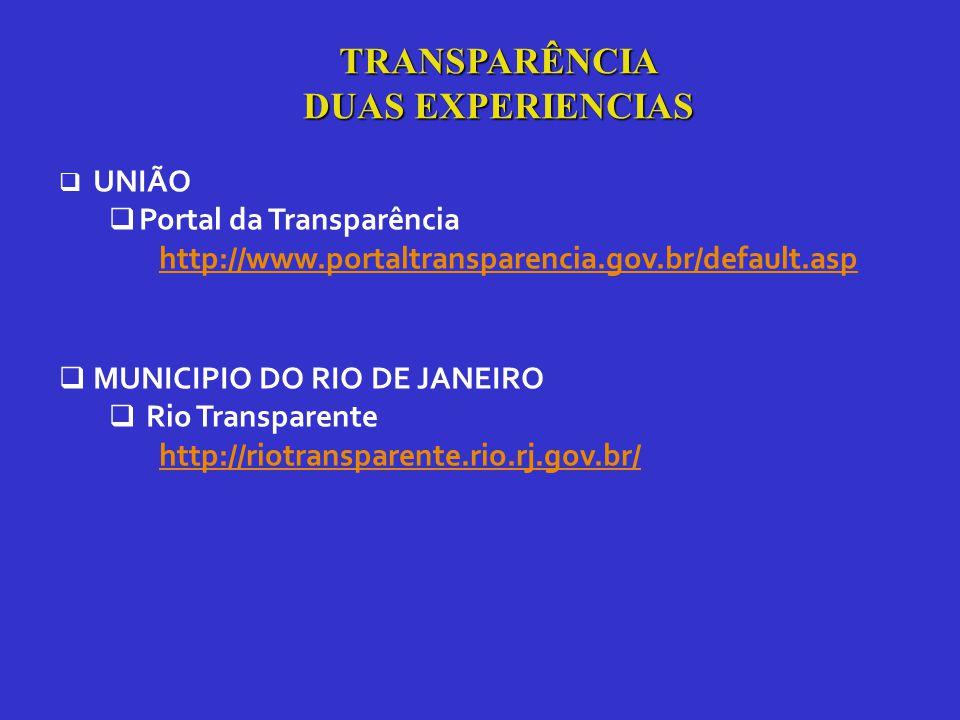  UNIÃO  Portal da Transparência http://www.portaltransparencia.gov.br/default.asp  MUNICIPIO DO RIO DE JANEIRO  Rio Transparente http://riotransparente.rio.rj.gov.br/ TRANSPARÊNCIA DUAS EXPERIENCIAS