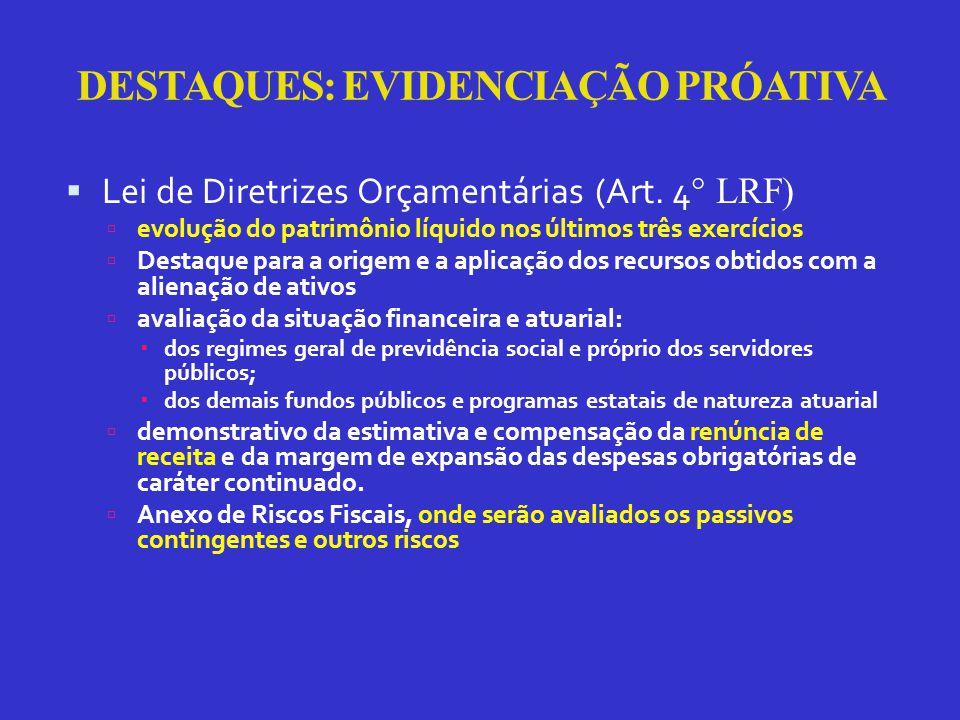 DESTAQUES: EVIDENCIAÇÃO PRÓATIVA  Lei de Diretrizes Orçamentárias (Art.