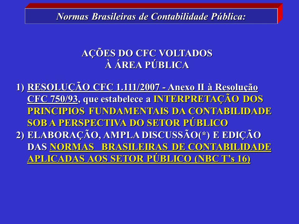 1)RESOLUÇÃO CFC 1.111/2007 - Anexo II à Resolução CFC 750/93, que estabelece a INTERPRETAÇÃO DOS PRINCIPIOS FUNDAMENTAIS DA CONTABILIDADE SOB A PERSPECTIVA DO SETOR PÚBLICO 2)ELABORAÇÃO, AMPLA DISCUSSÃO(*) E EDIÇÃO DAS NORMAS BRASILEIRAS DE CONTABILIDADE APLICADAS AOS SETOR PÚBLICO (NBC T's 16) AÇÕES DO CFC VOLTADOS À ÁREA PÚBLICA Normas Brasileiras de Contabilidade Pública: