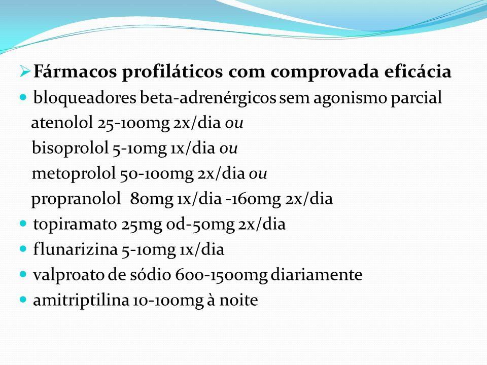  Fármacos profiláticos com comprovada eficácia bloqueadores beta-adrenérgicos sem agonismo parcial atenolol 25-100mg 2x/dia ou bisoprolol 5-10mg 1x/d