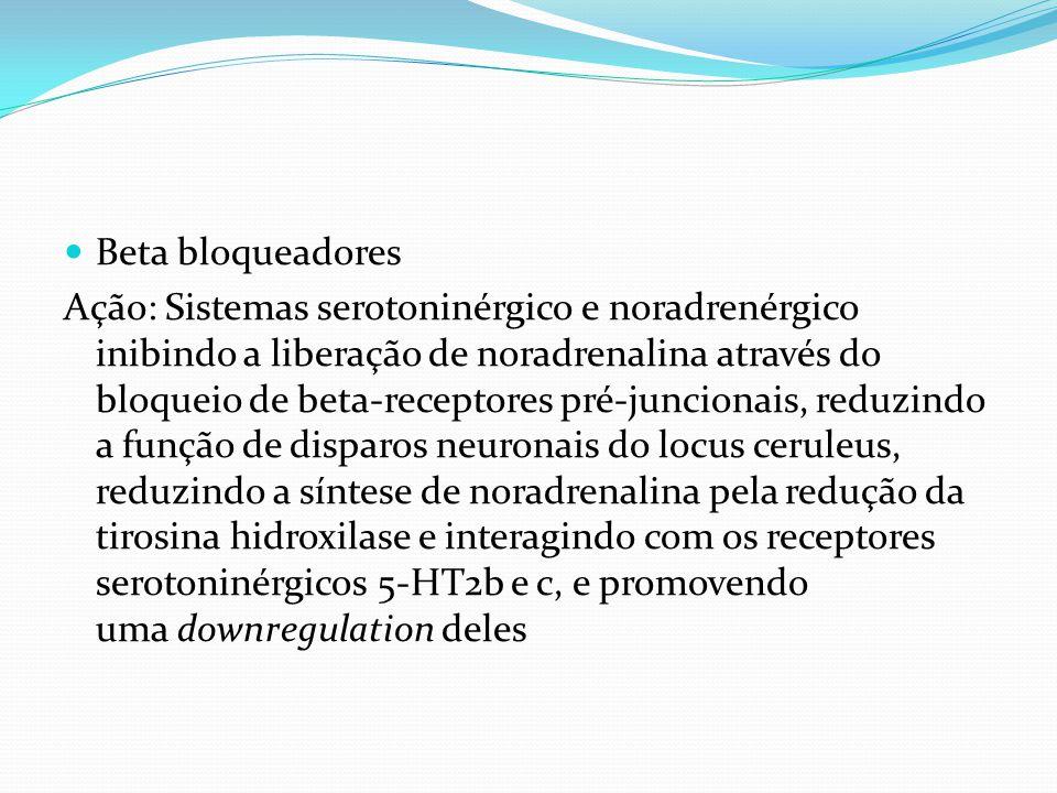 Beta bloqueadores Ação: Sistemas serotoninérgico e noradrenérgico inibindo a liberação de noradrenalina através do bloqueio de beta-receptores pré-jun
