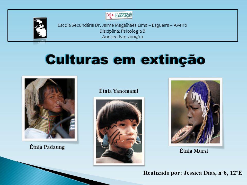Escola Secundária Dr. Jaime Magalhães Lima – Esgueira – Aveiro Disciplina: Psicologia B Ano lectivo: 2009/10 Culturas em extinção Realizado por: Jéssi