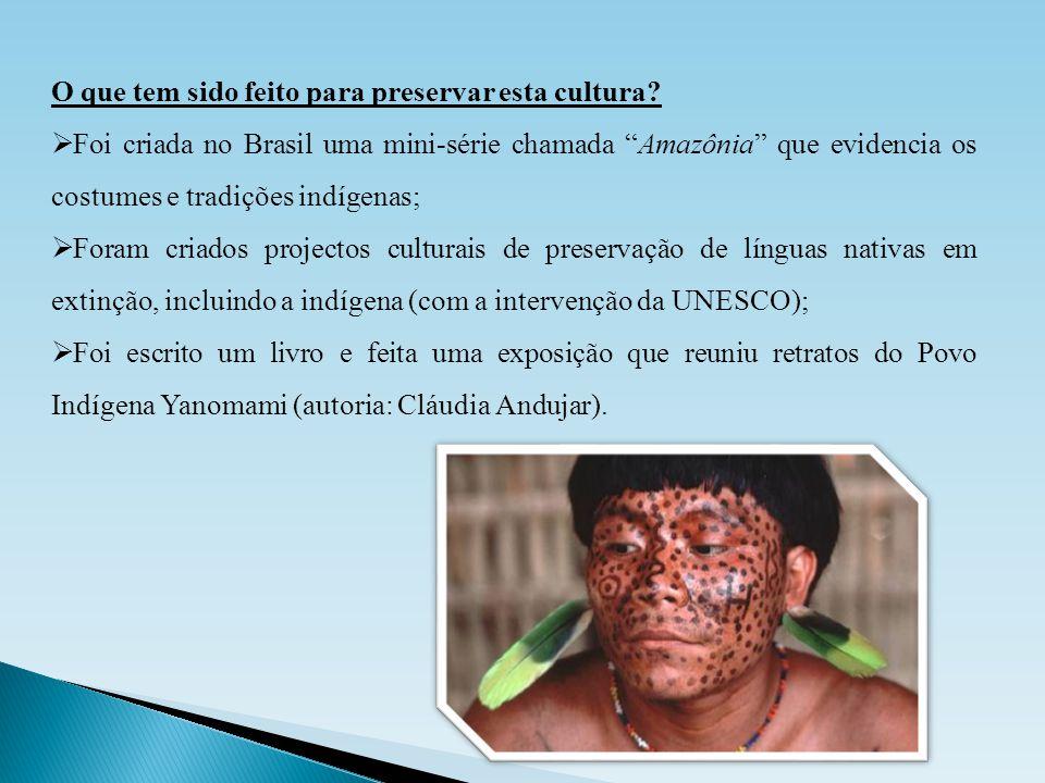 """O que tem sido feito para preservar esta cultura?  Foi criada no Brasil uma mini-série chamada """"Amazônia"""" que evidencia os costumes e tradições indíg"""