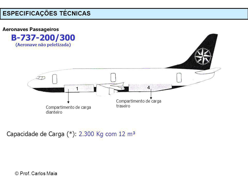 © Prof. Carlos Maia ESPECIFICAÇÕES TÉCNICAS Aeronaves Passageiros B-737-200/300 (Aeronave não peletizada) Compartimento de carga dianteiro Compartimen
