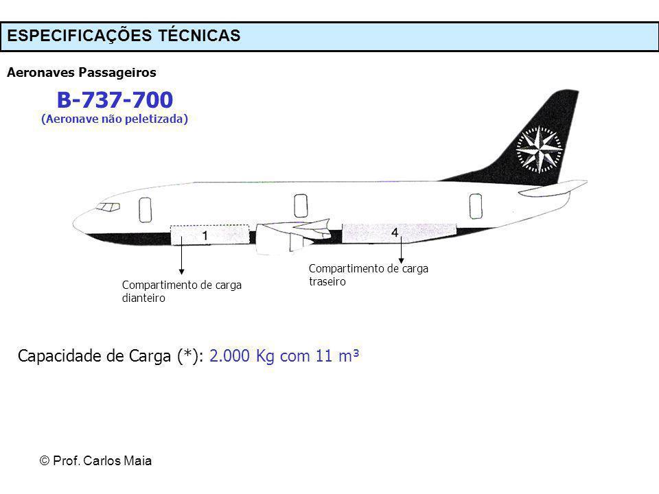 © Prof. Carlos Maia ESPECIFICAÇÕES TÉCNICAS Aeronaves Passageiros B-737-700 (Aeronave não peletizada) Compartimento de carga dianteiro Compartimento d