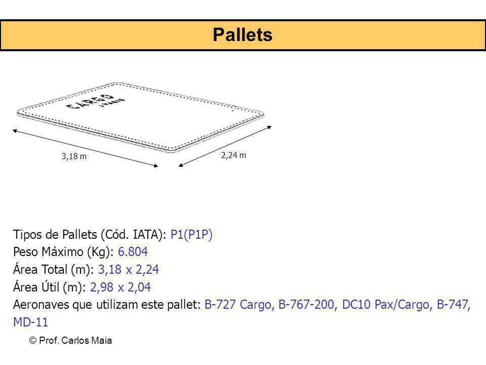 © Prof. Carlos Maia Pallets 3,18 m 2,24 m Tipos de Pallets (Cód. IATA): P1(P1P) Peso Máximo (Kg): 6.804 Área Total (m): 3,18 x 2,24 Área Útil (m): 2,9