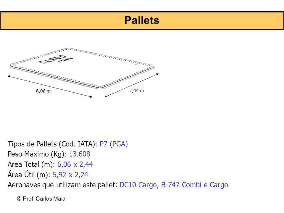 © Prof. Carlos Maia 6,06 m 2,44 m Tipos de Pallets (Cód. IATA): P7 (PGA) Peso Máximo (Kg): 13.608 Área Total (m): 6,06 x 2,44 Área Útil (m): 5,92 x 2,