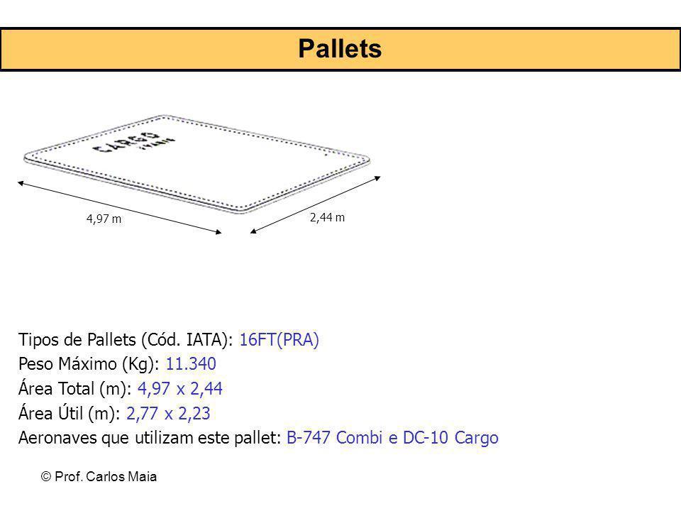© Prof. Carlos Maia 4,97 m 2,44 m Tipos de Pallets (Cód. IATA): 16FT(PRA) Peso Máximo (Kg): 11.340 Área Total (m): 4,97 x 2,44 Área Útil (m): 2,77 x 2