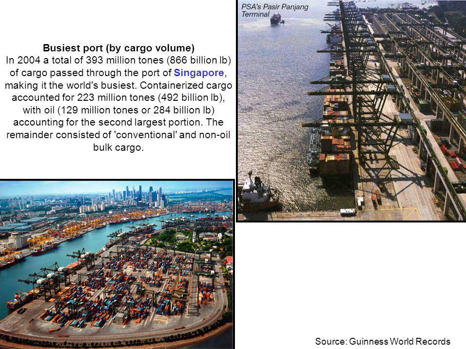 © Prof. Carlos Maia Busiest port (by cargo volume) In 2004 a total of 393 million tones (866 billion lb) of cargo passed through the port of Singapore