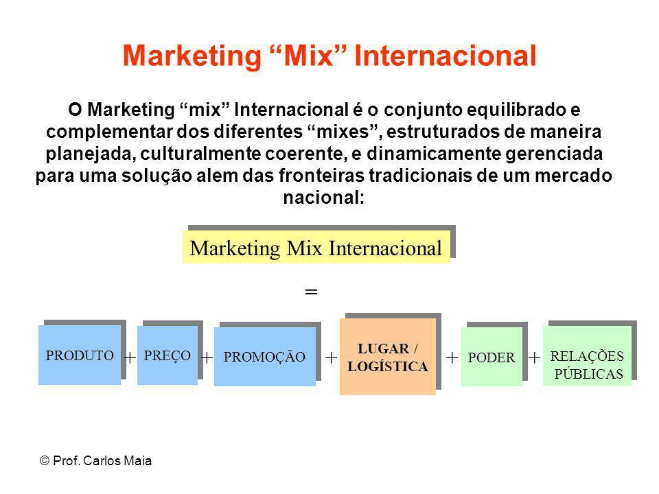"""© Prof. Carlos Maia Marketing """"Mix"""" Internacional Marketing Mix Internacional O Marketing """"mix"""" Internacional é o conjunto equilibrado e complementar"""