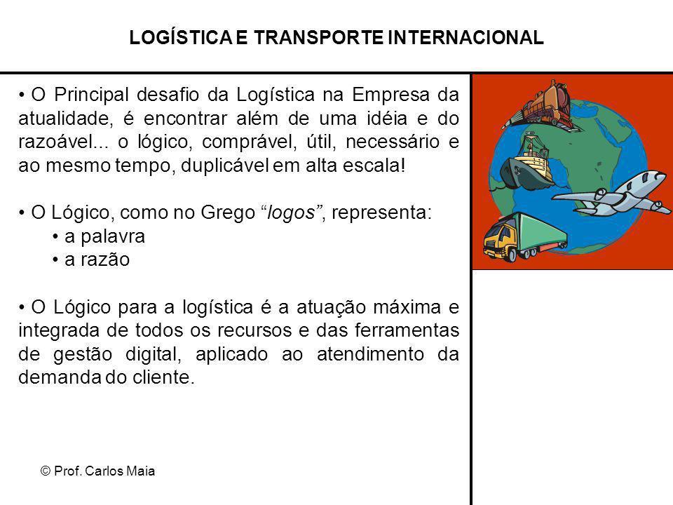 © Prof. Carlos Maia LOGÍSTICA E TRANSPORTE INTERNACIONAL O Principal desafio da Logística na Empresa da atualidade, é encontrar além de uma idéia e do