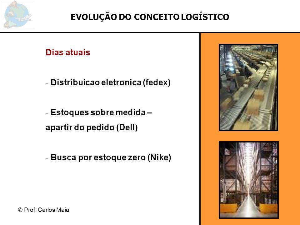© Prof. Carlos Maia EVOLUÇÃO DO CONCEITO LOGÍSTICO Dias atuais - Distribuicao eletronica (fedex) - Estoques sobre medida – apartir do pedido (Dell) -