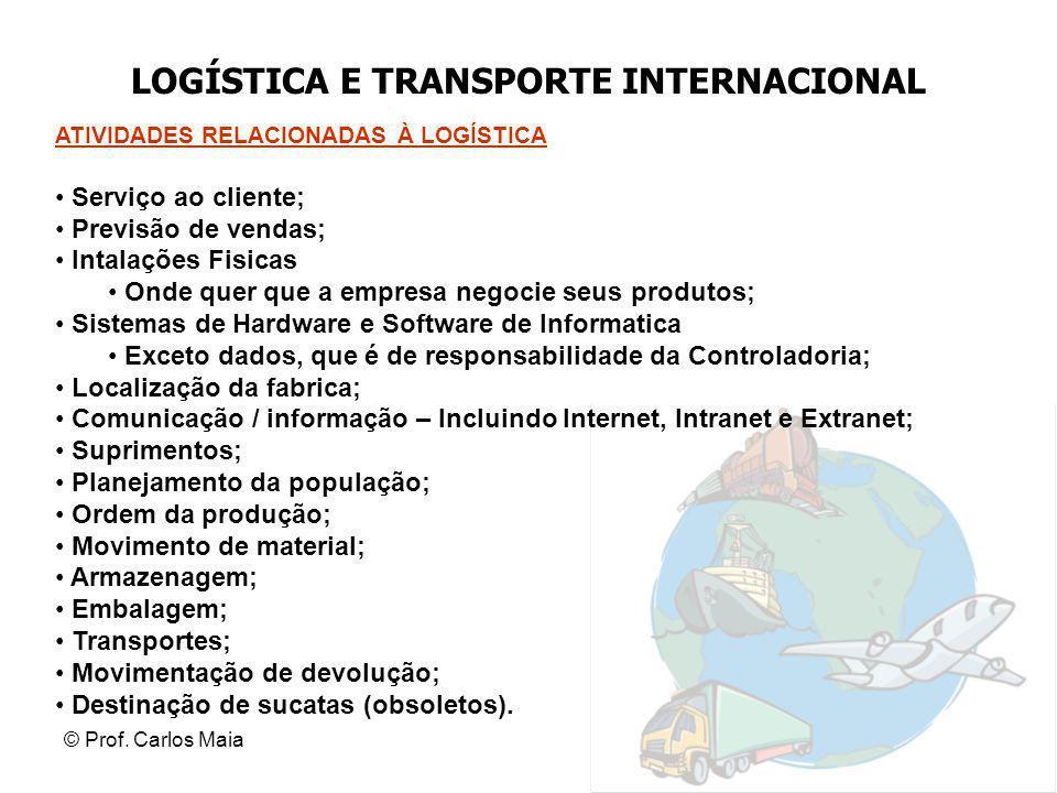 © Prof. Carlos Maia LOGÍSTICA E TRANSPORTE INTERNACIONAL ATIVIDADES RELACIONADAS À LOGÍSTICA Serviço ao cliente; Previsão de vendas; Intalações Fisica
