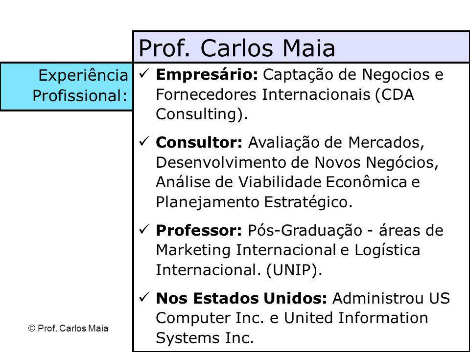 © Prof. Carlos Maia Empresário: Captação de Negocios e Fornecedores Internacionais (CDA Consulting). Consultor: Avaliação de Mercados, Desenvolvimento