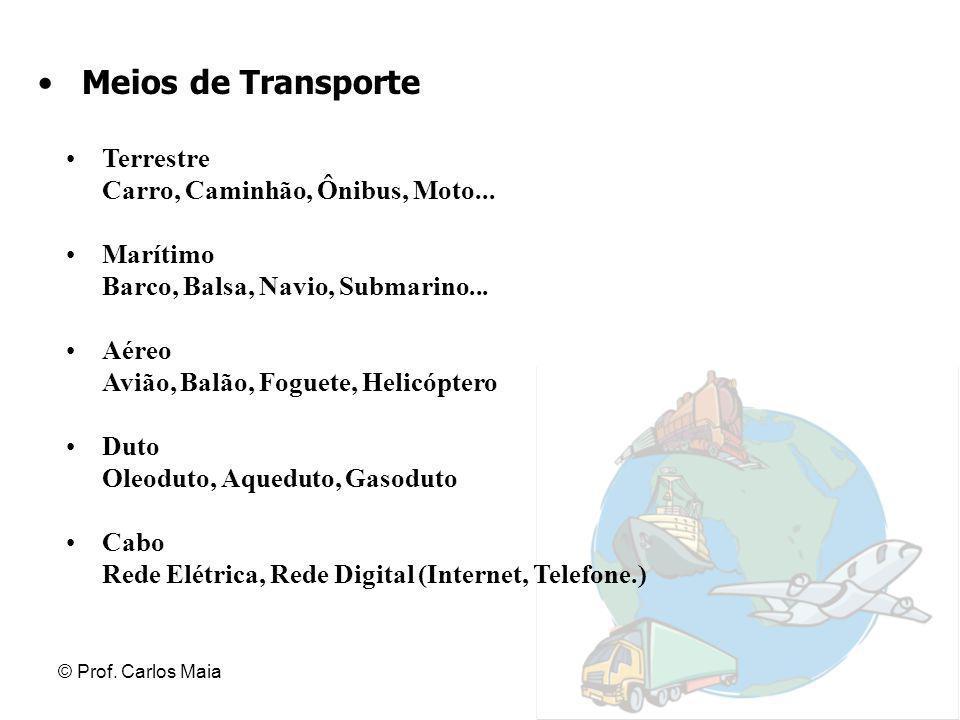 © Prof. Carlos Maia Meios de Transporte Terrestre Carro, Caminhão, Ônibus, Moto... Marítimo Barco, Balsa, Navio, Submarino... Aéreo Avião, Balão, Fogu
