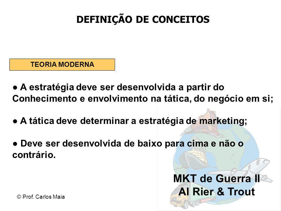 © Prof. Carlos Maia DEFINIÇÃO DE CONCEITOS ● A estratégia deve ser desenvolvida a partir do Conhecimento e envolvimento na tática, do negócio em si; ●