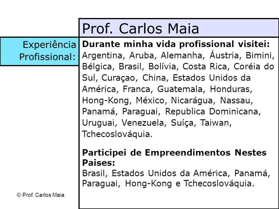 © Prof. Carlos Maia Durante minha vida profissional visitei: Argentina, Aruba, Alemanha, Áustria, Bimini, Bélgica, Brasil, Bolívia, Costa Rica, Coréia