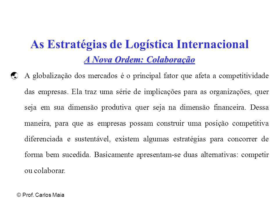© Prof. Carlos Maia As Estratégias de Logística Internacional A Nova Ordem: Colaboração  A globalização dos mercados é o principal fator que afeta a