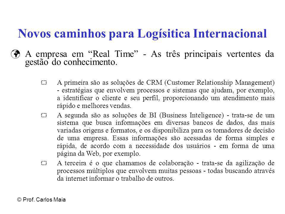 """© Prof. Carlos Maia Novos caminhos para Logísitica Internacional A empresa em """"Real Time"""" - As três principais vertentes da gestão do conhecimento. """