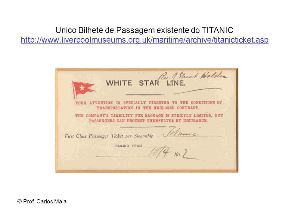 © Prof. Carlos Maia Unico Bilhete de Passagem existente do TITANIC http://www.liverpoolmuseums.org.uk/maritime/archive/titanicticket.asp http://www.li