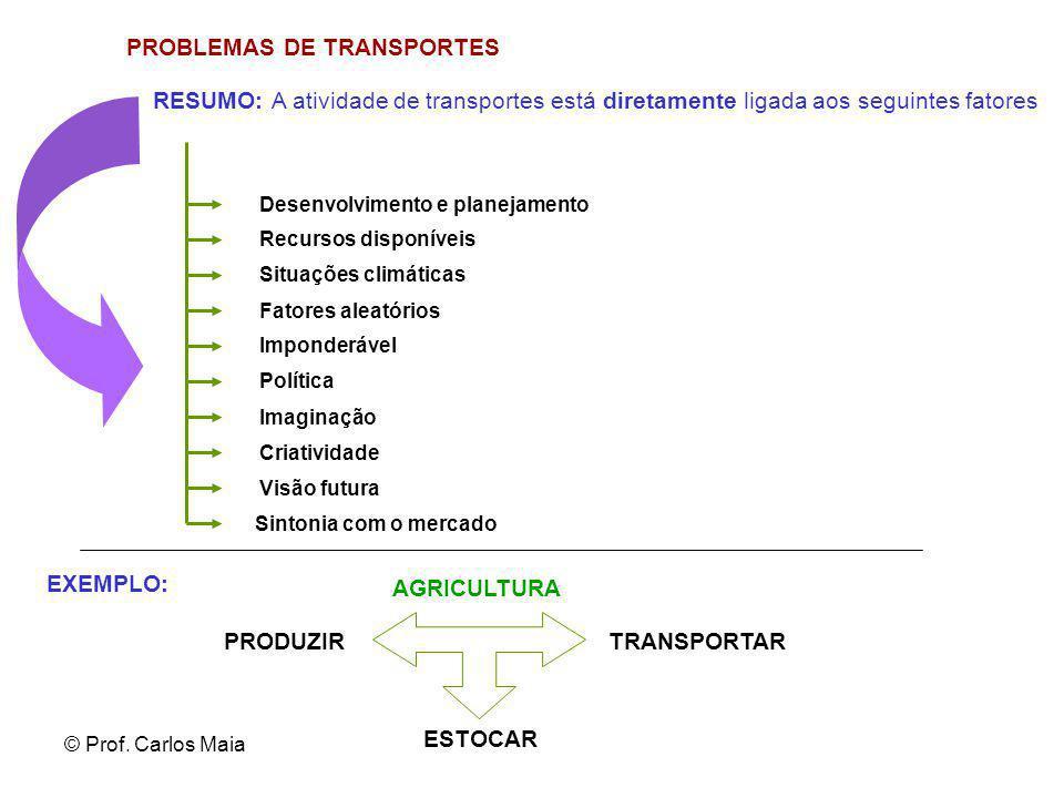 © Prof. Carlos Maia PROBLEMAS DE TRANSPORTES Desenvolvimento e planejamento Recursos disponíveis Situações climáticas RESUMO: A atividade de transport