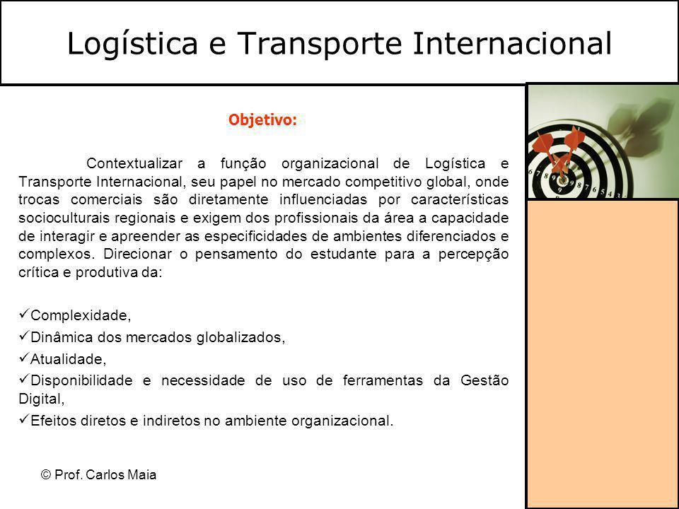 © Prof. Carlos Maia Objetivo: Contextualizar a função organizacional de Logística e Transporte Internacional, seu papel no mercado competitivo global,