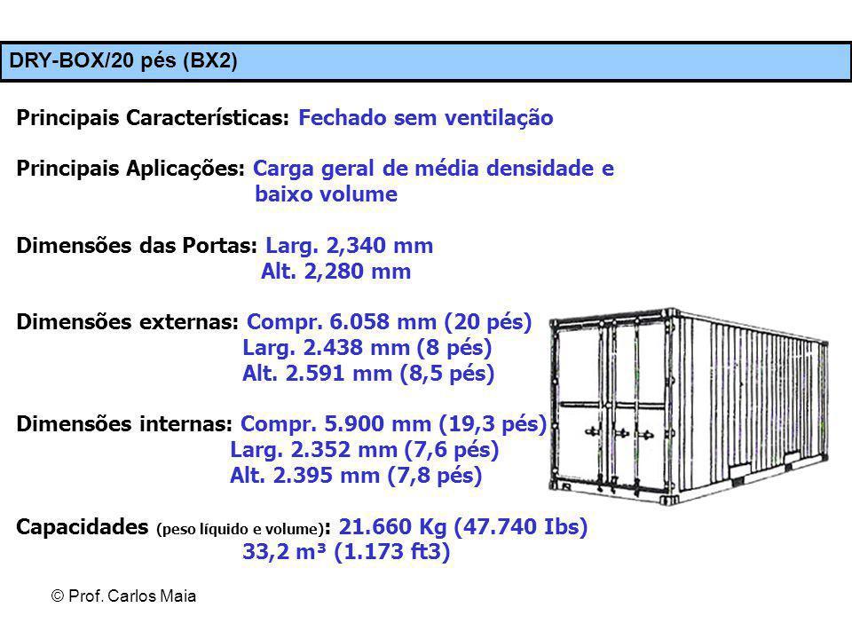 © Prof. Carlos Maia DRY-BOX/20 pés (BX2) Principais Características: Fechado sem ventilação Principais Aplicações: Carga geral de média densidade e ba