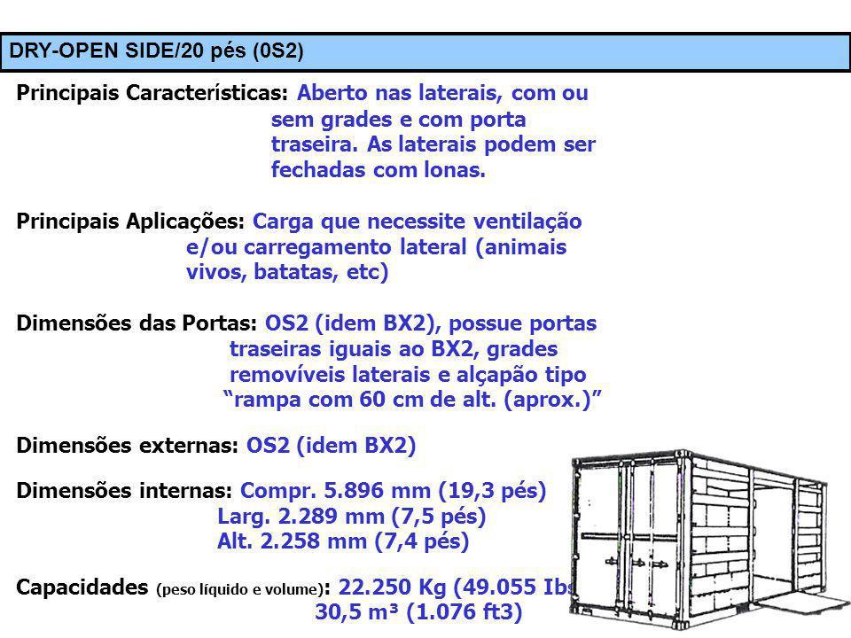 © Prof. Carlos Maia DRY-OPEN SIDE/20 pés (0S2) Principais Caracte rí sticas: Aberto nas laterais, com ou sem grades e com porta traseira. As laterais