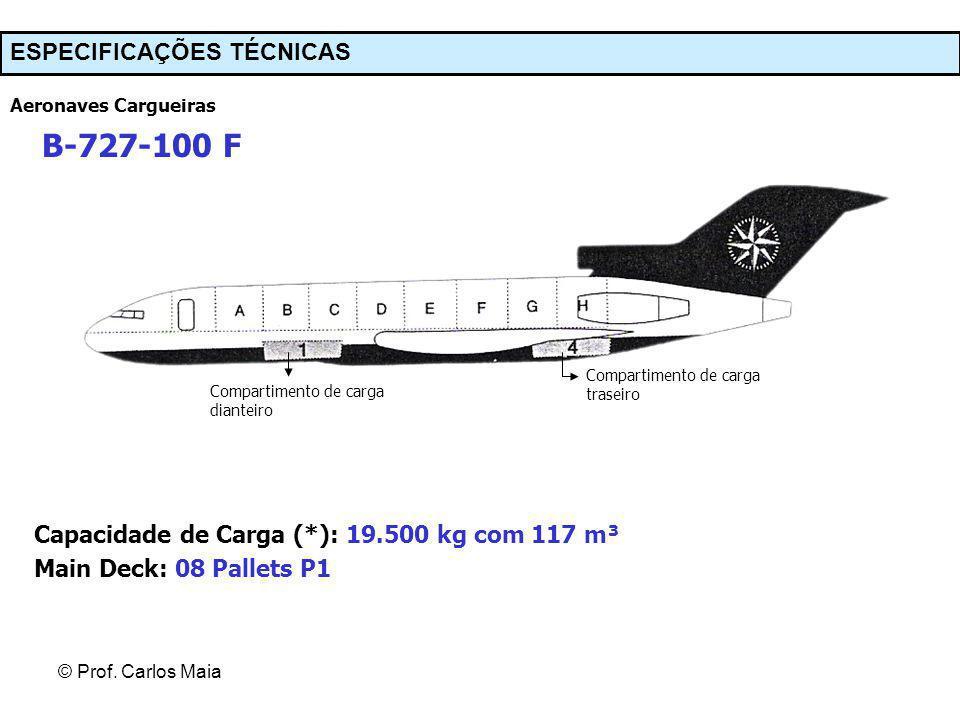 © Prof. Carlos Maia Aeronaves Cargueiras B-727-100 F Compartimento de carga dianteiro Compartimento de carga traseiro Capacidade de Carga (*): 19.500