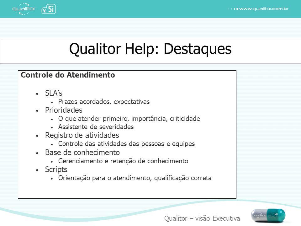 Qualitor – visão Executiva Qualitor Help: Destaques Controle do Atendimento SLA's Prazos acordados, expectativas Prioridades O que atender primeiro, i
