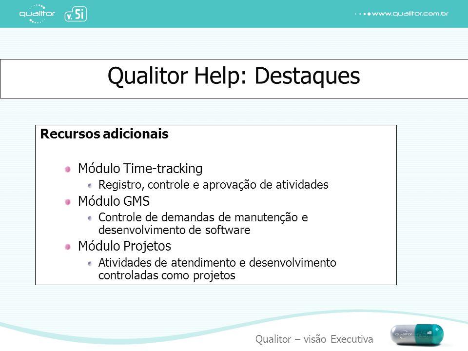 Qualitor – visão Executiva Qualitor Help: Destaques Recursos adicionais Módulo Time-tracking Registro, controle e aprovação de atividades Módulo GMS C