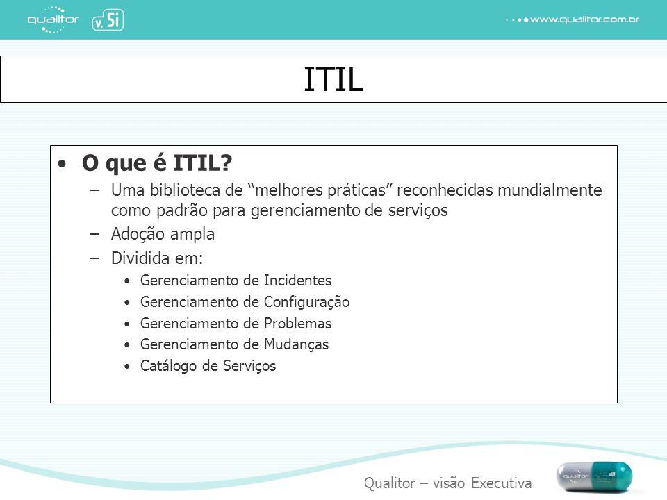 """Qualitor – visão Executiva ITIL O que é ITIL? –Uma biblioteca de """"melhores práticas"""" reconhecidas mundialmente como padrão para gerenciamento de servi"""