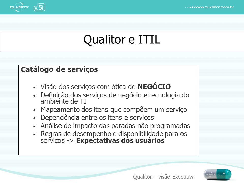 Qualitor – visão Executiva Qualitor e ITIL Catálogo de serviços Visão dos serviços com ótica de NEGÓCIO Definição dos serviços de negócio e tecnologia