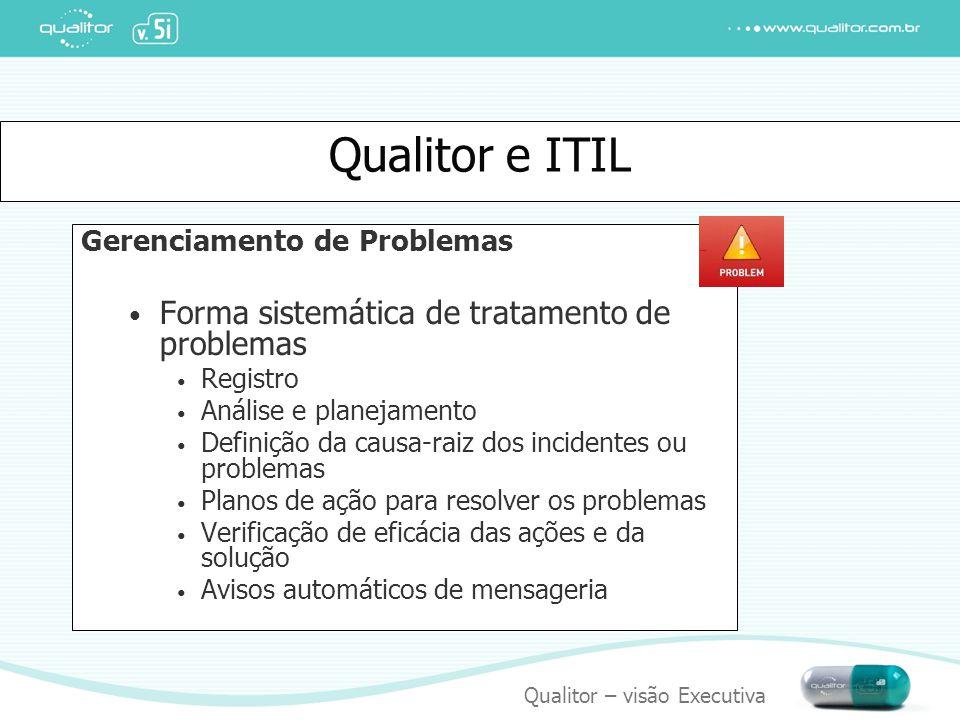 Qualitor – visão Executiva Qualitor e ITIL Gerenciamento de Problemas Forma sistemática de tratamento de problemas Registro Análise e planejamento Def