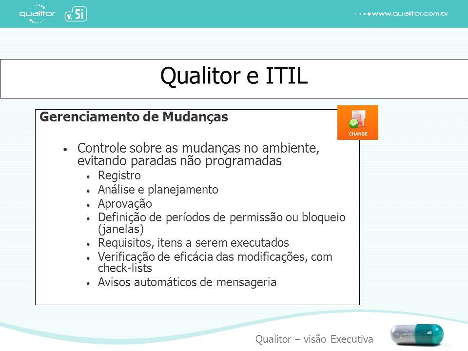 Qualitor – visão Executiva Qualitor e ITIL Gerenciamento de Mudanças Controle sobre as mudanças no ambiente, evitando paradas não programadas Registro