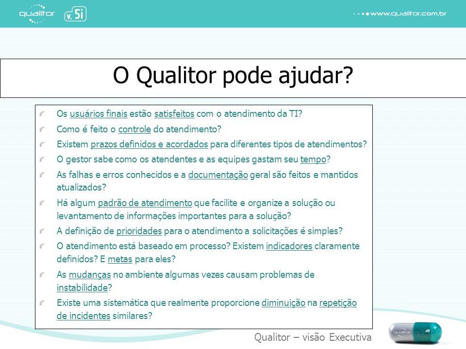 Qualitor – visão Executiva O Qualitor pode ajudar? Os usuários finais estão satisfeitos com o atendimento da TI? Como é feito o controle do atendiment
