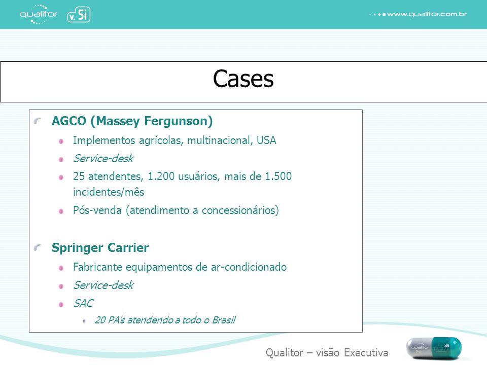 Qualitor – visão Executiva Cases AGCO (Massey Fergunson) Implementos agrícolas, multinacional, USA Service-desk 25 atendentes, 1.200 usuários, mais de
