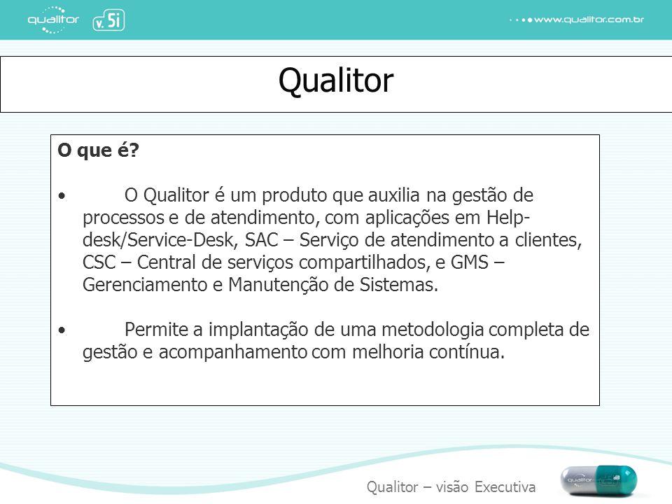 Qualitor – visão Executiva Qualitor O que é? O Qualitor é um produto que auxilia na gestão de processos e de atendimento, com aplicações em Help- desk