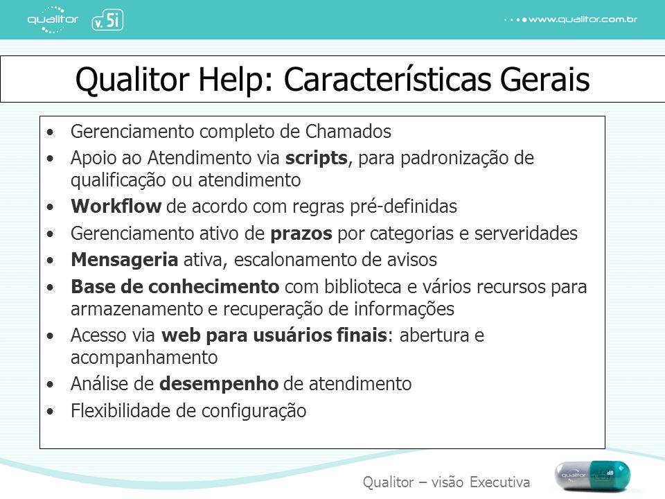 Qualitor – visão Executiva Qualitor Help: Características Gerais Gerenciamento completo de Chamados Apoio ao Atendimento via scripts, para padronizaçã
