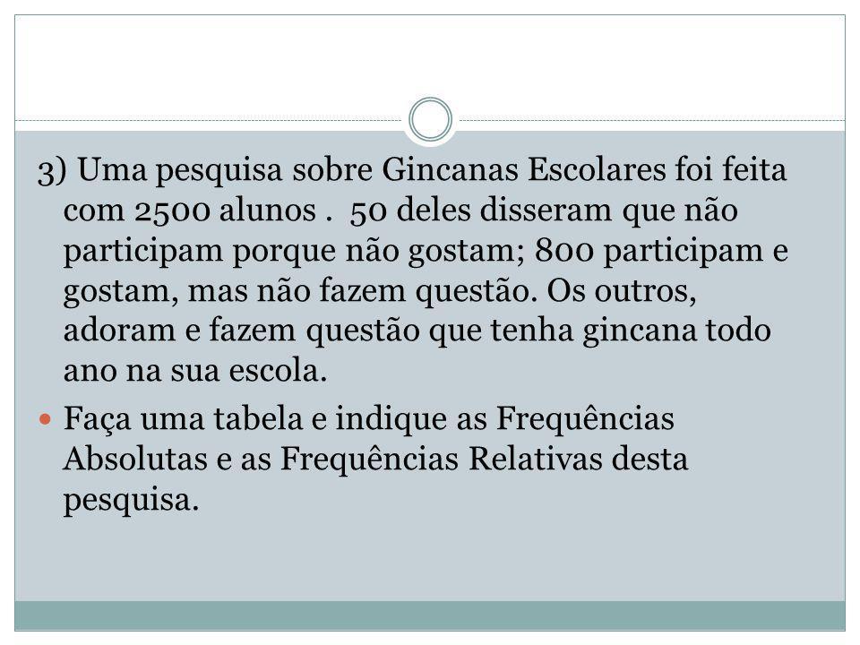 3) Uma pesquisa sobre Gincanas Escolares foi feita com 2500 alunos.