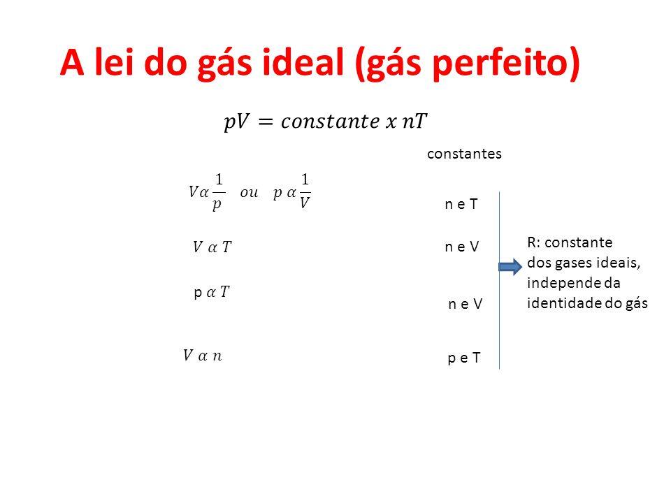 A lei do gás ideal (gás perfeito) constantes n e T n e V p e T R: constante dos gases ideais, independe da identidade do gás