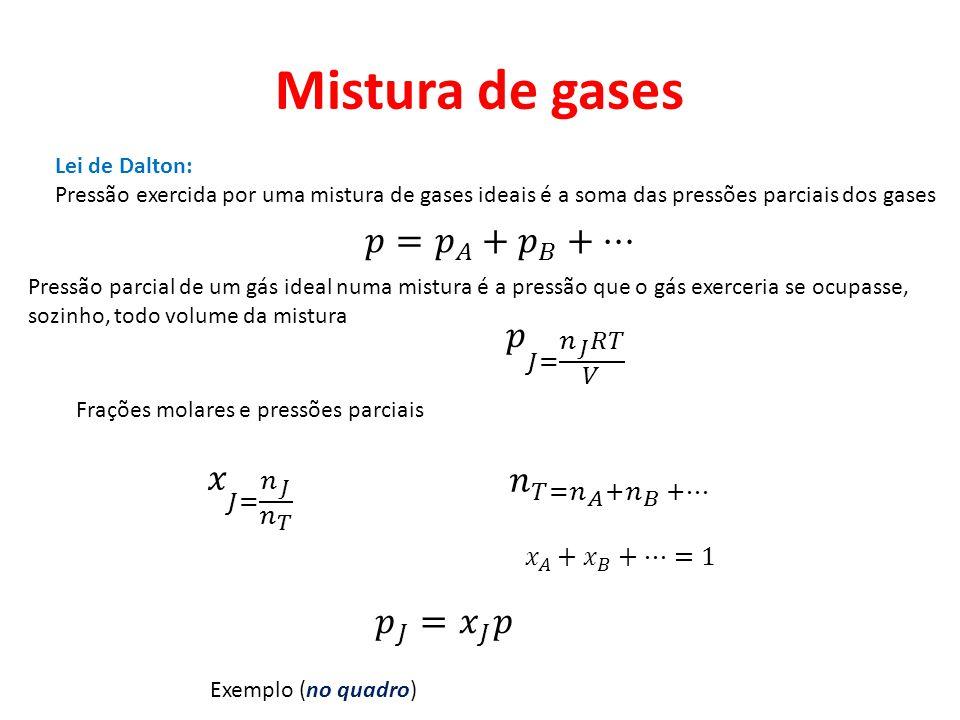 Mistura de gases Lei de Dalton: Pressão exercida por uma mistura de gases ideais é a soma das pressões parciais dos gases Pressão parcial de um gás id
