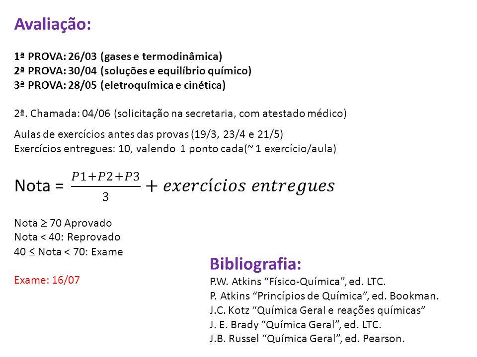 "Bibliografia: P.W. Atkins ""Físico-Química"", ed. LTC. P. Atkins ""Princípios de Química"", ed. Bookman. J.C. Kotz ""Química Geral e reações químicas"" J. E"