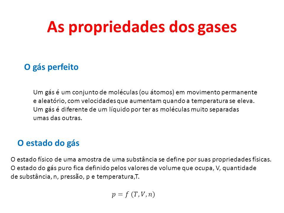 As propriedades dos gases O gás perfeito Um gás é um conjunto de moléculas (ou átomos) em movimento permanente e aleatório, com velocidades que aument