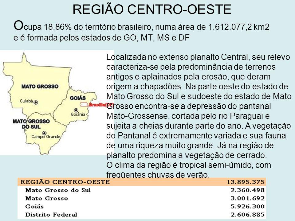 REGIÃO CENTRO-OESTE O cupa 18,86% do território brasileiro, numa área de 1.612.077,2 km2 e é formada pelos estados de GO, MT, MS e DF Localizada no extenso planalto Central, seu relevo caracteriza-se pela predominância de terrenos antigos e aplainados pela erosão, que deram origem a chapadões.