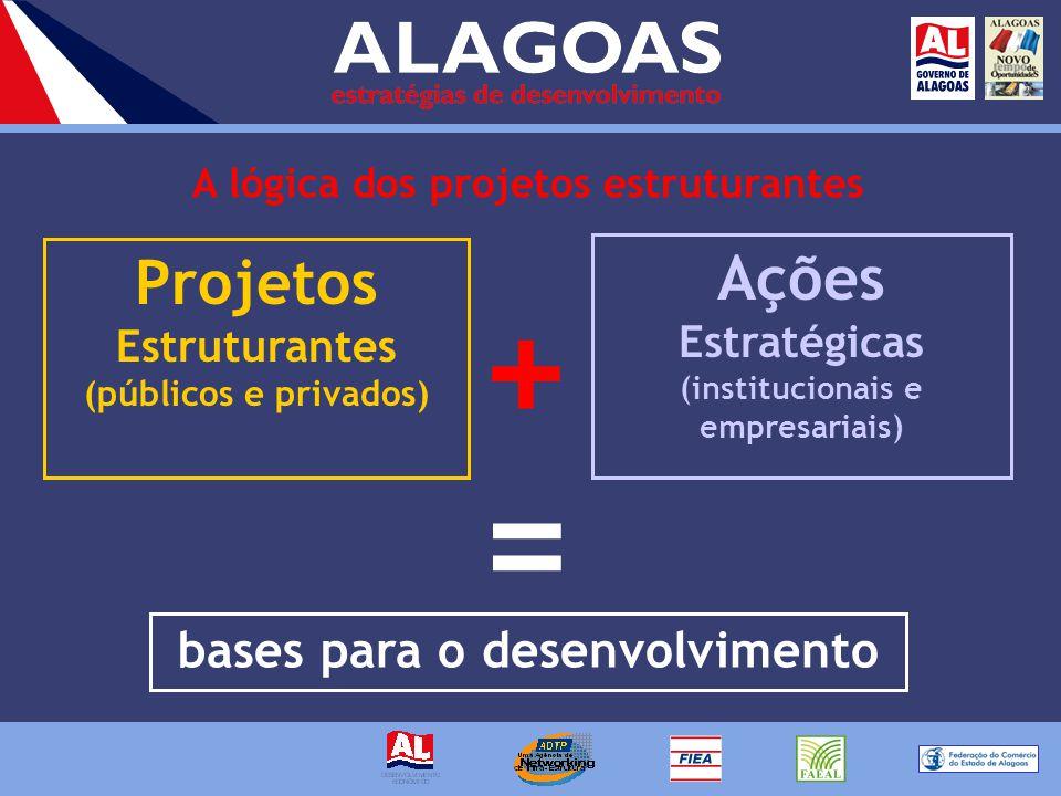 A lógica dos projetos estruturantes Projetos Estruturantes (públicos e privados) Ações Estratégicas (institucionais e empresariais) bases para o desenvolvimento + =