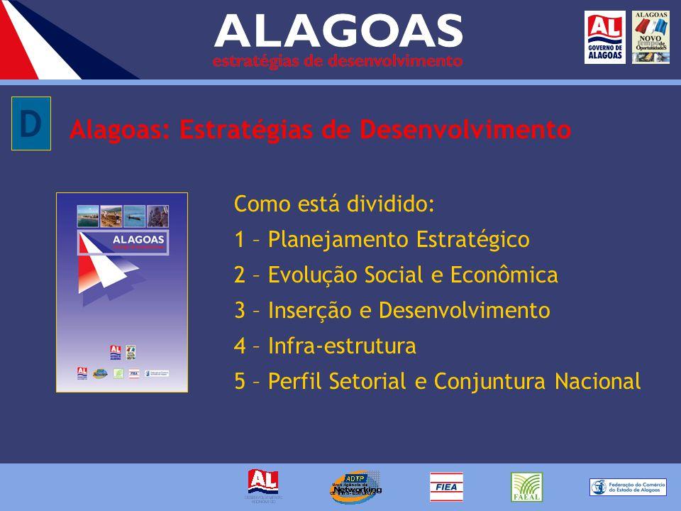 Alagoas: Estratégias de Desenvolvimento Como está dividido: 1 – Planejamento Estratégico 2 – Evolução Social e Econômica 3 – Inserção e Desenvolvimento 4 – Infra-estrutura 5 – Perfil Setorial e Conjuntura Nacional D