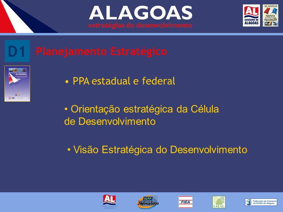D1 Planejamento Estratégico PPA estadual e federal Orientação estratégica da Célula de Desenvolvimento Visão Estratégica do Desenvolvimento