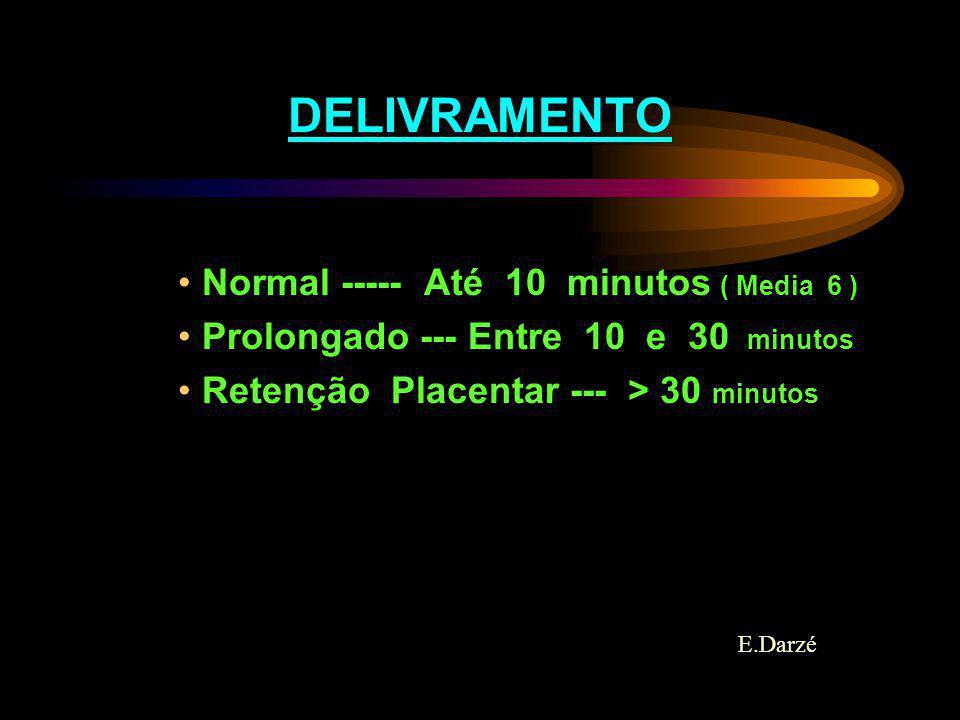 E.Darzé DELIVRAMENTO Normal ----- Até 10 minutos ( Media 6 ) Prolongado --- Entre 10 e 30 minutos Retenção Placentar --- > 30 minutos