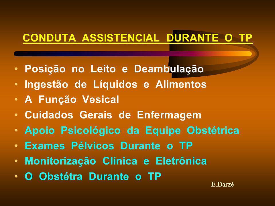 E.Darzé CONDUTA ASSISTENCIAL DURANTE O TP Posição no Leito e Deambulação Ingestão de Líquidos e Alimentos A Função Vesical Cuidados Gerais de Enfermag